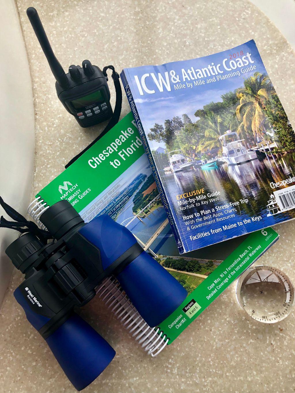 chart books, binoculars and marine radio