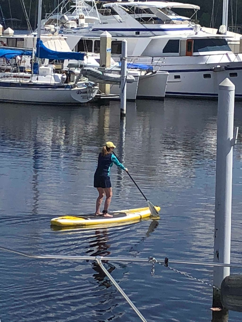 steph on the paddle board