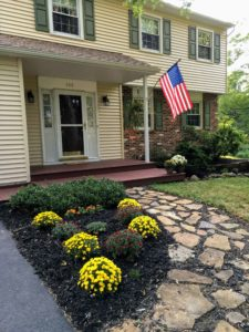 front of house, flag, garden