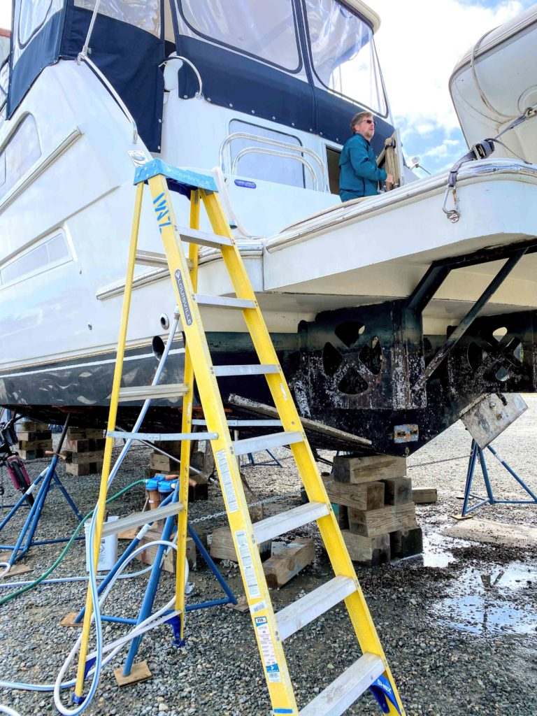 A ladder to the stern of a boat in the boatyard