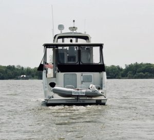 dinghy on Carver motor yacht